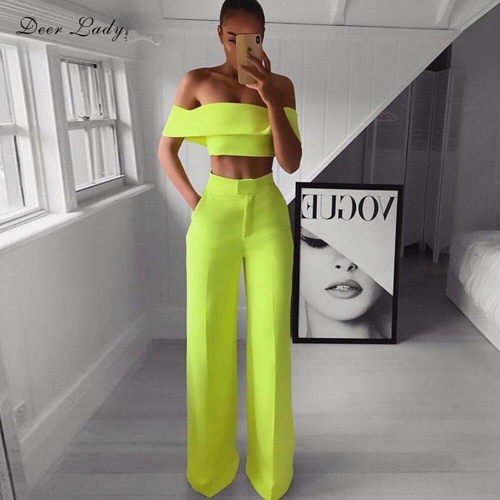 Deer Lady 2 Piece Pants Set Women 2019 Green High Waist Wide Leg Pants Set Summer Fashion Pants And Crop Top Set Off Shoulder
