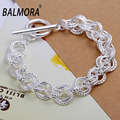 Hot Wholesale Silver Plated Bracelets about 20cm Long Silver Charm Bracelet Bangle for Women Female Party Gifts Fashion Jewelry