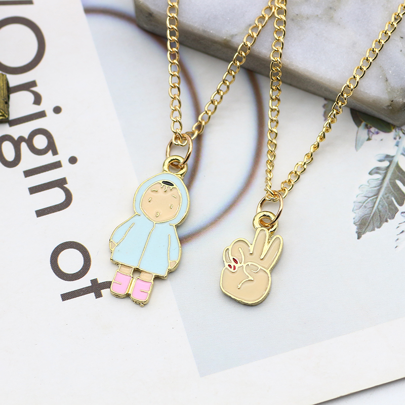 New Trendy Triangle Cake Strawberry Box Cotton Boy Yes Gesture Necklace Fashion Charm Pendant Choker Necklaces For Women Colar