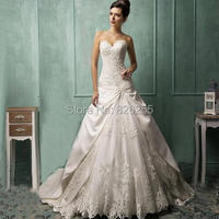 New Model Custom Made High Quality Satin Appliques Classic Style Elegant Wedding Dress Bridal Gowns ZH0374