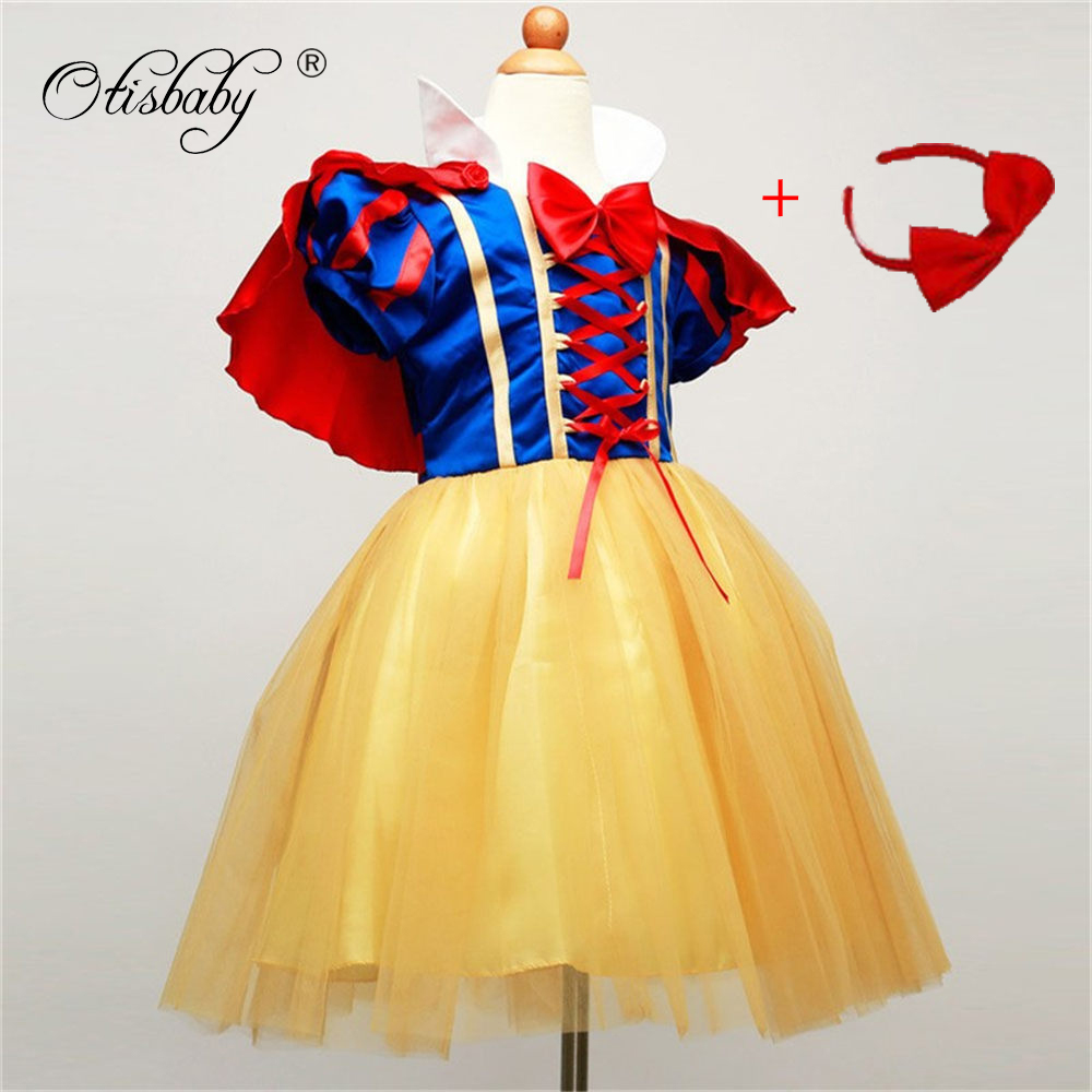 Snow White Dress for Princess Girls High Quality 2017 Kids With Bow and Shawl Red Dress Party Clothes Cinderella Autumn Costume футболка skills red line snow white xl
