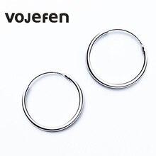 VOJEFEN 925 Sterling Silver Hoop Earrings 30 mm Small Sterling Silver Circle Earrings for Girl and Ladies Jewelry Round Hoop