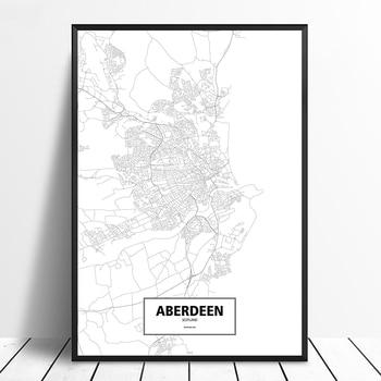 Aberdeen, escocia negro blanco personalizado mapa de ciudades del mundo cartel lienzo...