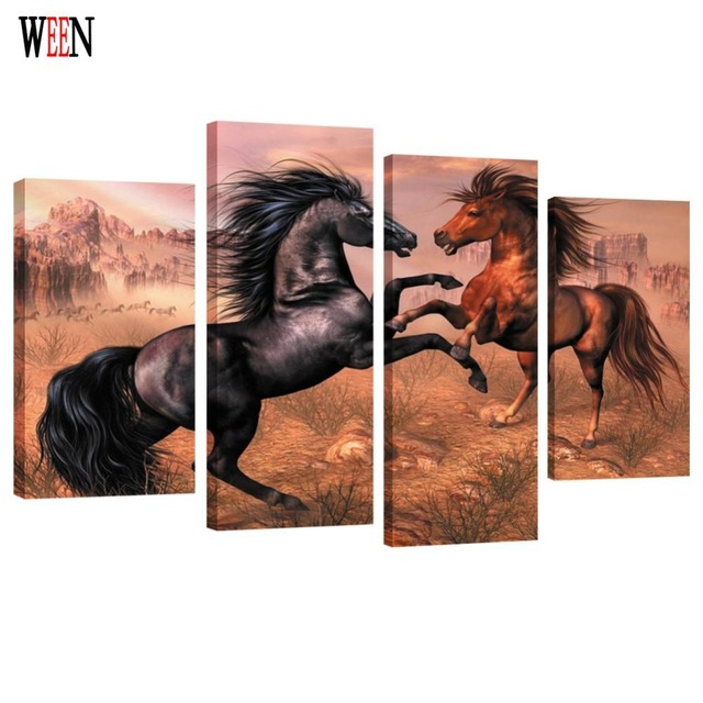 HD Print Framed 4PC TWO Horse Canvas Art Wall Pictures For Living ...