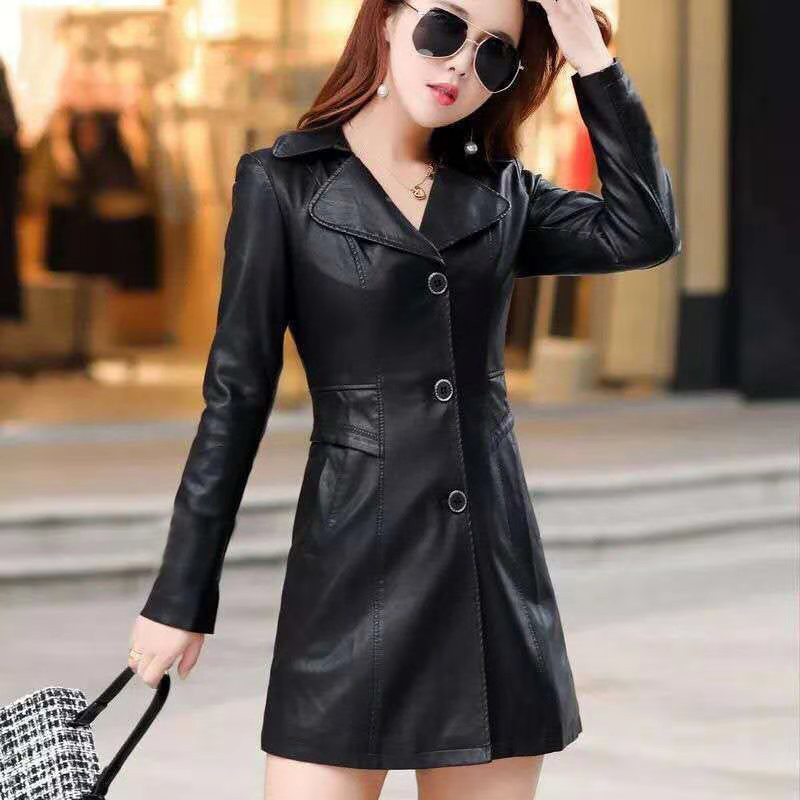 Women's   Leather   Jacket Slim Plus Size Middle-aged Women Winter Coat Female   Leather   Coat XL-5XL   Leather   Jacket Women