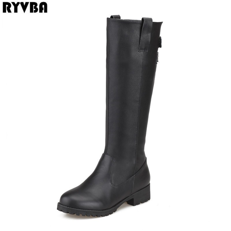 RYVBA ladies fashion buckle winter knee high boots woman sexy autumn thigh high boots womens genuine leather women black shoes ryvba woman knee high snow boots fashion thick plush warm thigh high boots winter boots for women shoes womens female sexy flats