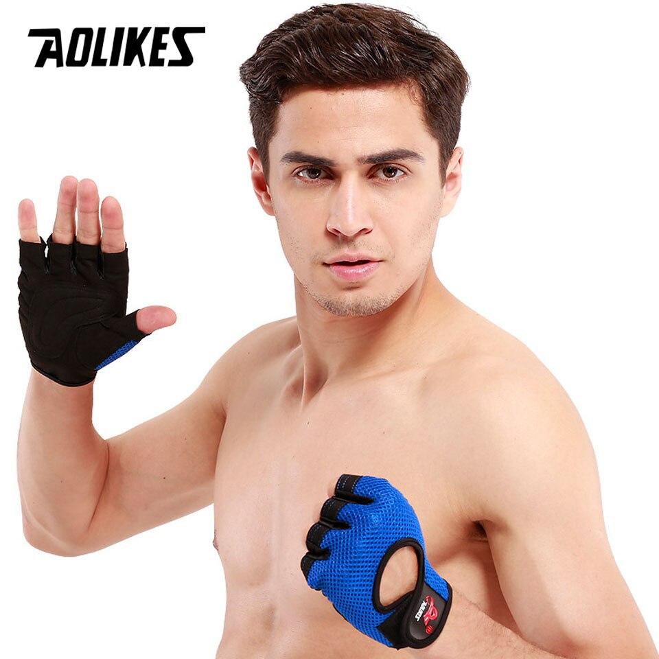 AOLIKES 1 Pair Men Women Anti-slip Half Finger Fitness Gloves Sports Breathable Weightlifting Gloves