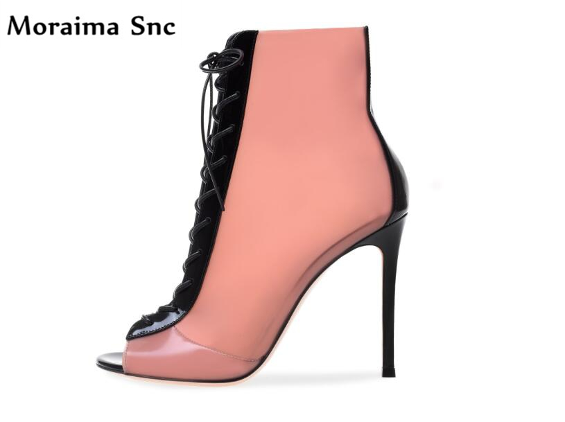 Moraima Snc Spring Fall fashion female Ankle boots peep toe cross-tied mixed colors sexy thin high heels newest waterproof fashion sexy newest flock cross tied
