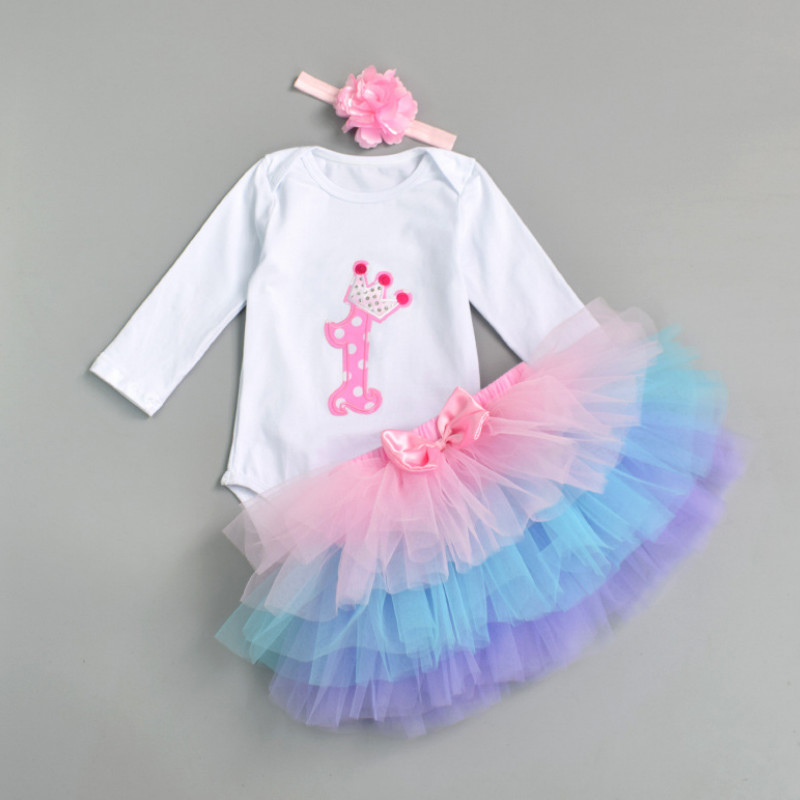 Newborn 2018 Flower Party Clothes Set Baby Girl One Years First Birthday Tutu Outfits for Girls Tulle Toddler Baby Clothing Suit hot sale new summer children clothing set baby girl set o neck sets baby tutu skirt set 2 8 years toddler girls clothes