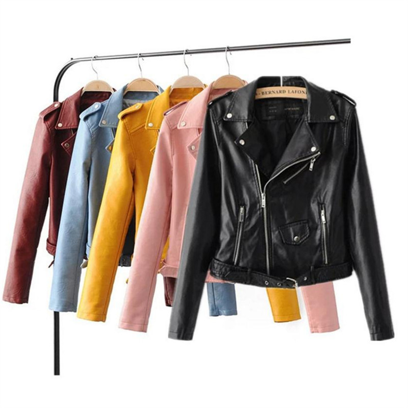 S-3XL new spring fashionable bright color Pu   leather   jacket coat good quality ladies main street for women Pu   leather   jacket