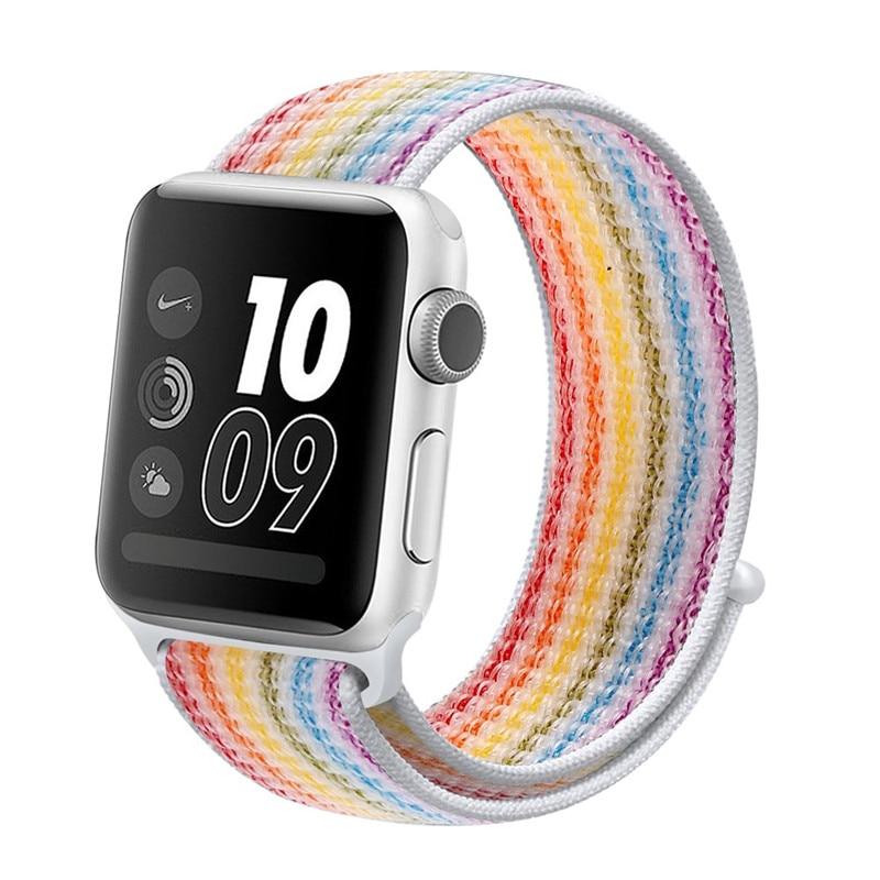 Спортивная петля ремешок apple watch band 42 мм 38 мм apple watch 4 3 band iwatch band 44 мм 40 мм correa pulseira 42 44 нейлоновый ремешок для часов - Цвет ремешка: strip colorful 31