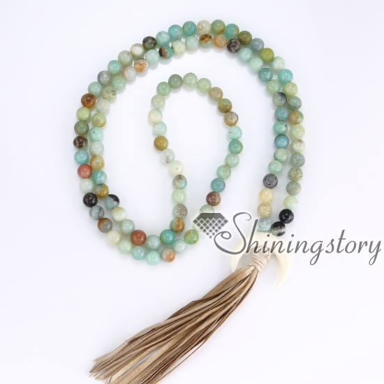 108 Buddhist Prayer Beads Yoga Mala Bracelets Necklaces Meditation Crescent Moon Necklace Jewelry Whole