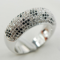 White Black Crystal Zircon 925 Sterling Silver Micropave Ring Size 6 7 8 9 10 A23