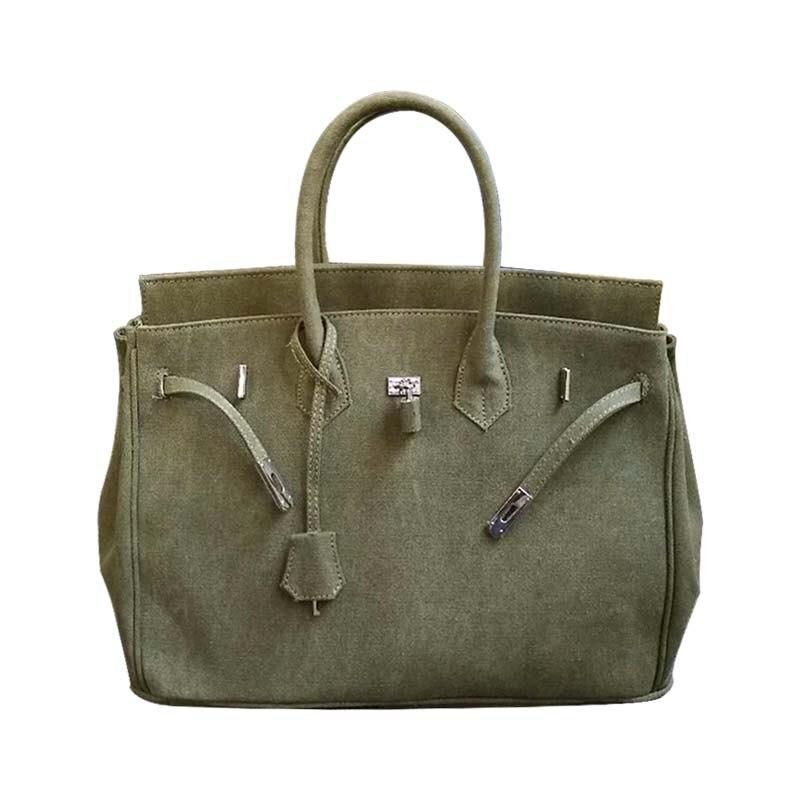 Fashion Women Canvas Handbag Bag Military Green Thicken Large Capacity Totes Lock Platinum Package Japanese style Shoulder bag