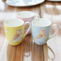 Cute Blue Yellow Pink Birds Ceramic Coffee Cup Breakfast Milk Mug Tea Cup Children Gift DEC056