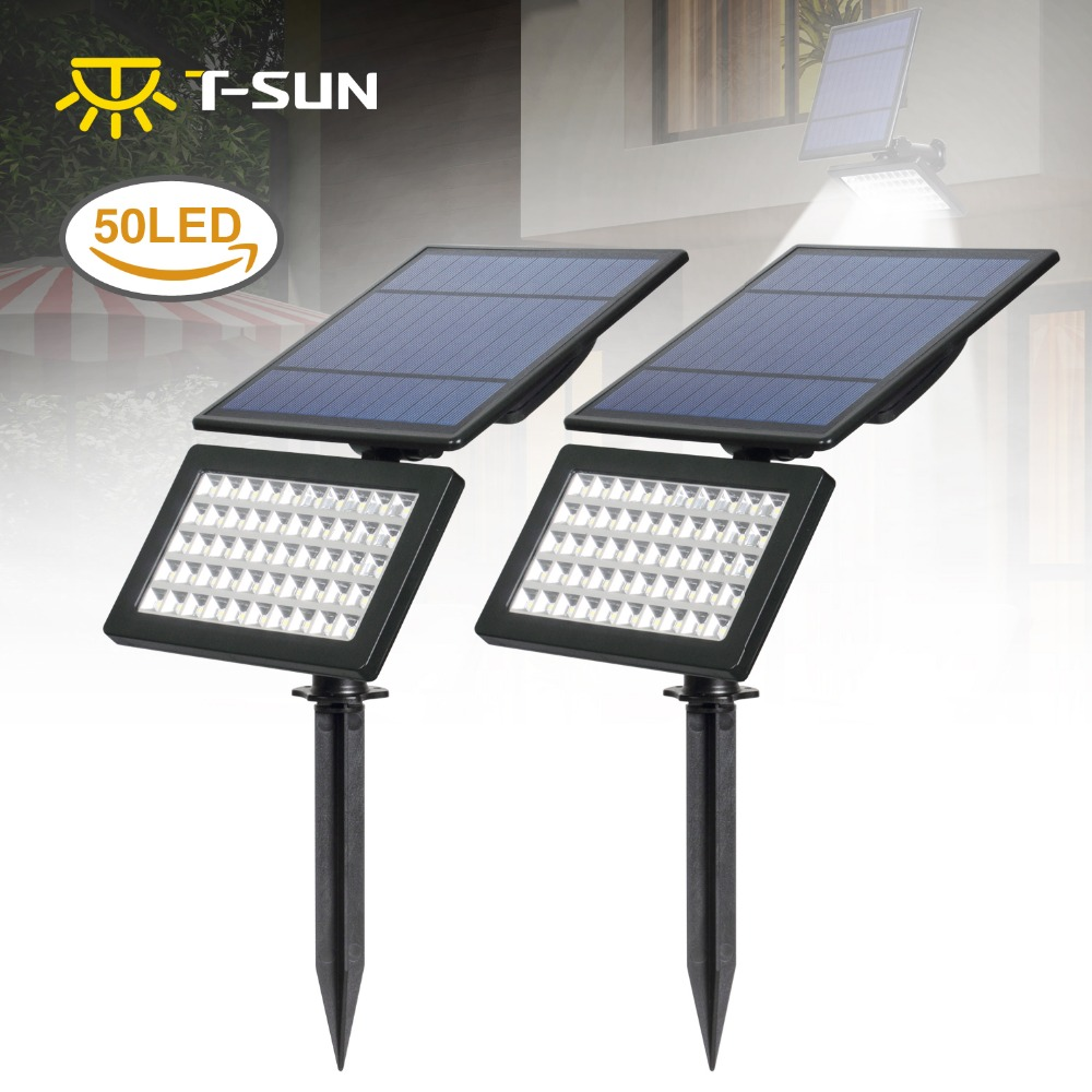 2 PACK Flood Lights Outdoor 50 LED 2 Modes Solar Wall Lights Adjustable Security Lighting for