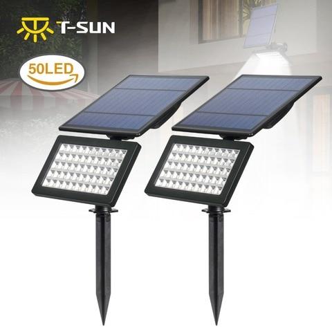 2 pacote luzes de inundacao ao ar livre 50 led 2 modos luzes parede solar