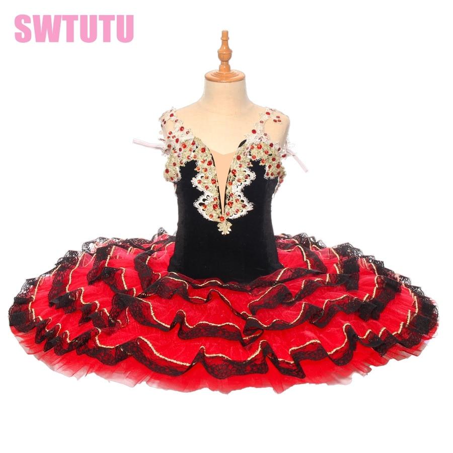 Women Black Red Professional Ballet Tutu Paquita Cometiton Stage Tutu Dance Costumes Child Don Quixote Pancake Tutu  BT9169