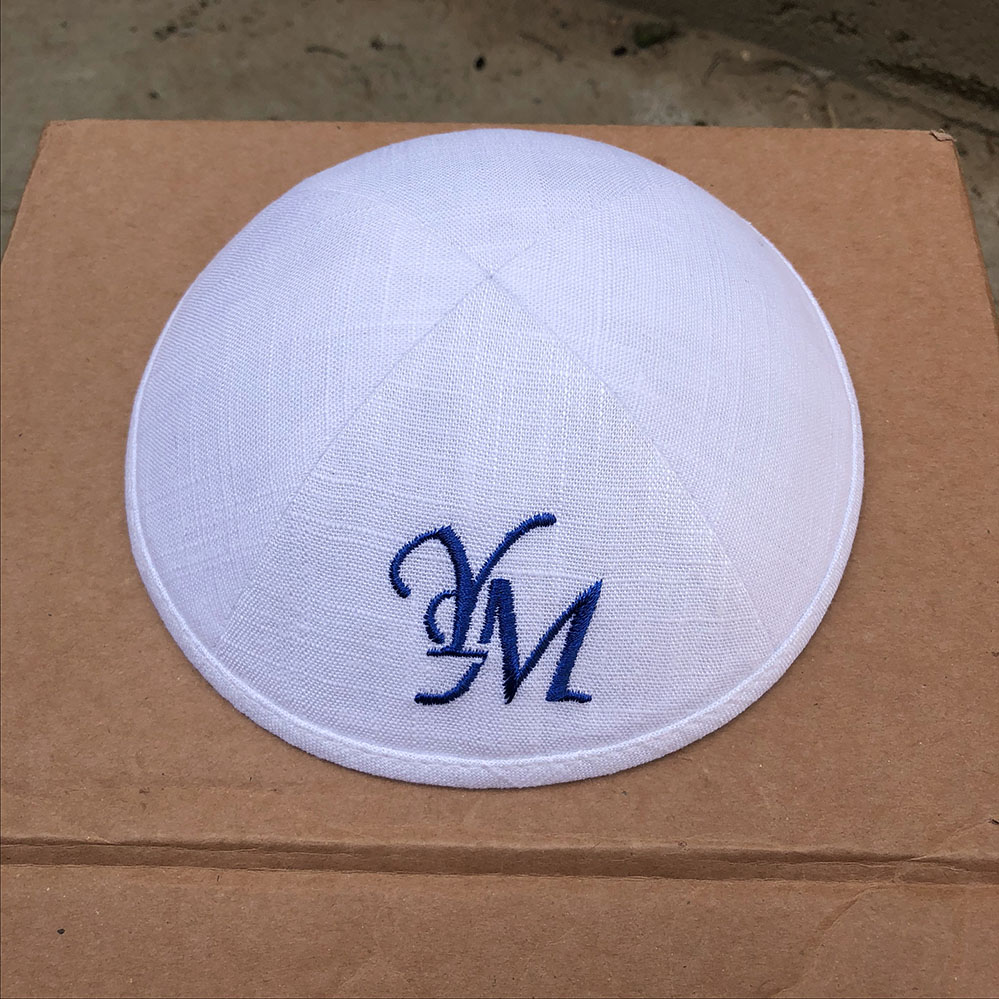 WHITE LINEN KIPA WITH ROYAL BLUE EMBROIDERY LOGO FOR WEDDING