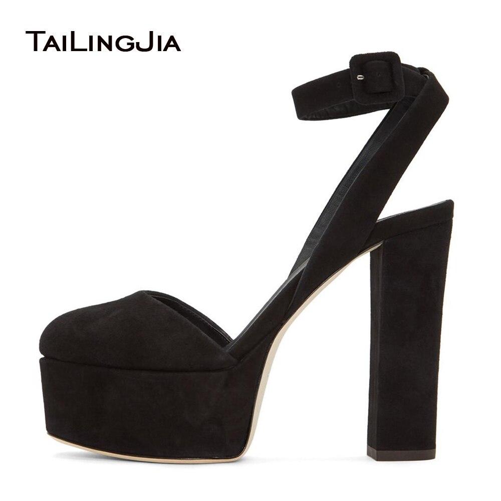 Women Black Faux Suede Round Toe Chunky Heel Slingbacks Platform High Heel Pumps Evening Dress Heels Ladies Summer Shoes 2018