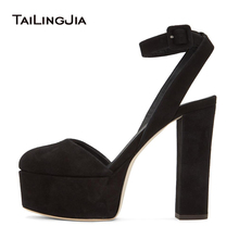 Women Black Faux Suede Round Toe Chunky Heel Slingbacks Platform High Heel Pumps Evening Dress Heels Ladies Summer Shoes 2018 недорго, оригинальная цена