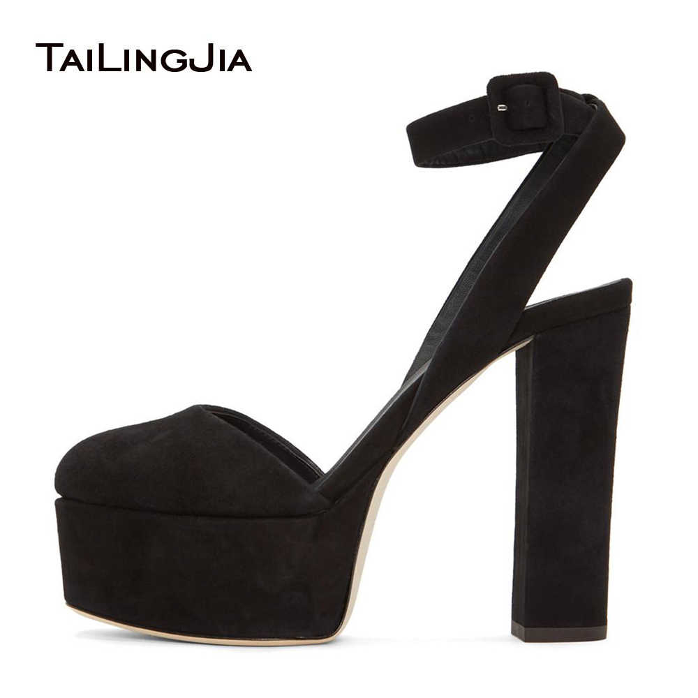 ba4c8e44bdac Detail Feedback Questions about Women Black Faux Suede Round Toe Chunky Heel  Slingbacks Platform High Heel Pumps Evening Dress Heels Ladies Summer Shoes  ...