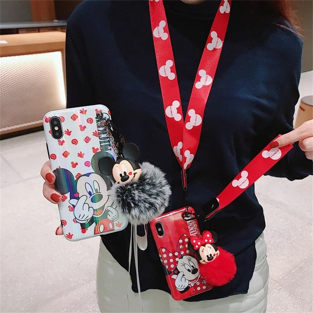 JAMULAR Cartoon Bracket Doll Hand Strap Minnie Phone Case For iPhone XS MAX XR 7 8 6 6s Plus Blue Light Soft Back Cover Coque