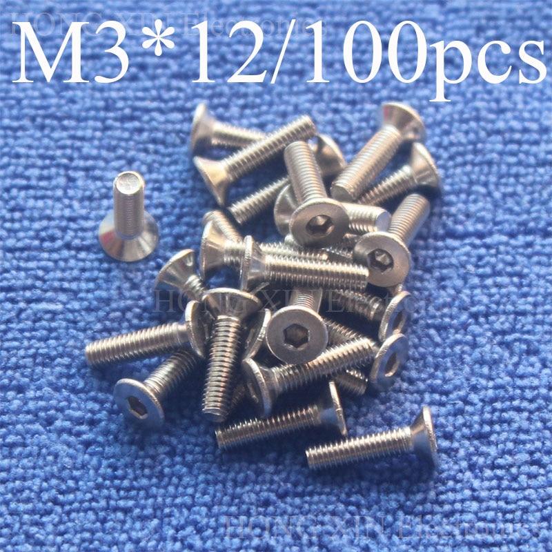 100Pcs M3*12 Flat Head Stainless Steel SS304 Machine Countersunk Screw Bolt Fastener Allen Key Head hex socket countersunk head 100pcs m3 12 flat head stainless steel