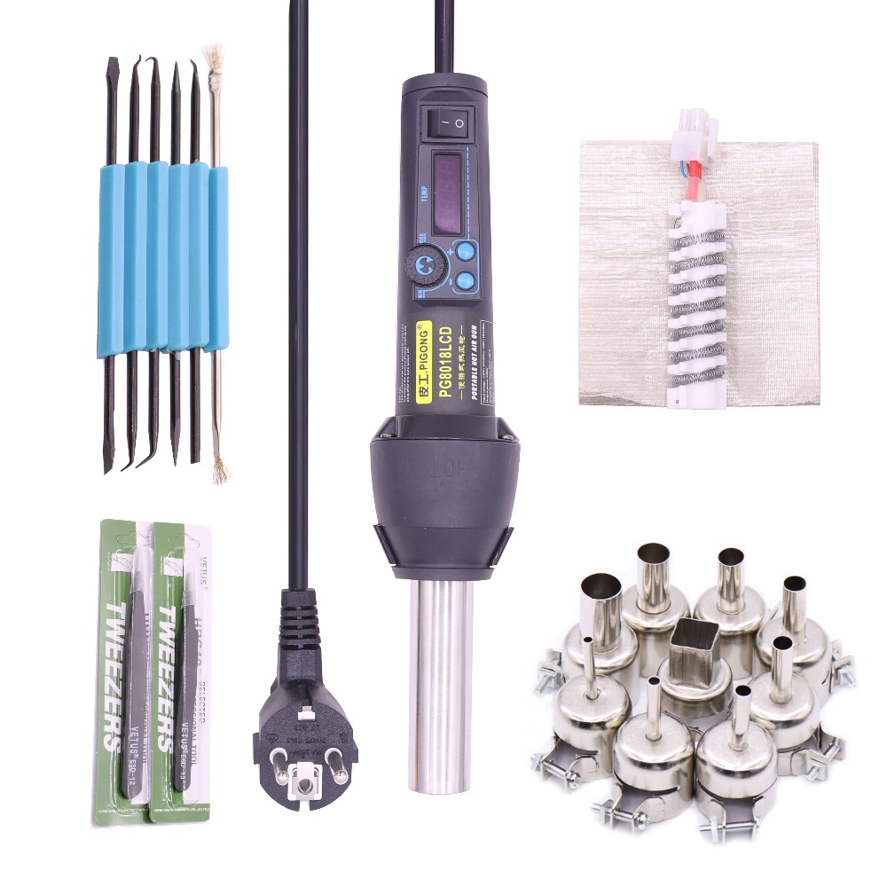 LCD adjustable electronic heating hot air gun desoldering soldering station IC SMD BGA +9 nozzle EU220V / AU110V650W extent