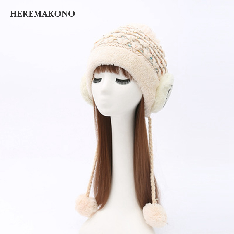 4ab02e19a2f Embroidery Smiling face Bauer knitting cap Ma am Three ball With velvet  Diamonds Woolen hat-in Skullies   Beanies from Apparel Accessories on  Aliexpress.com ...