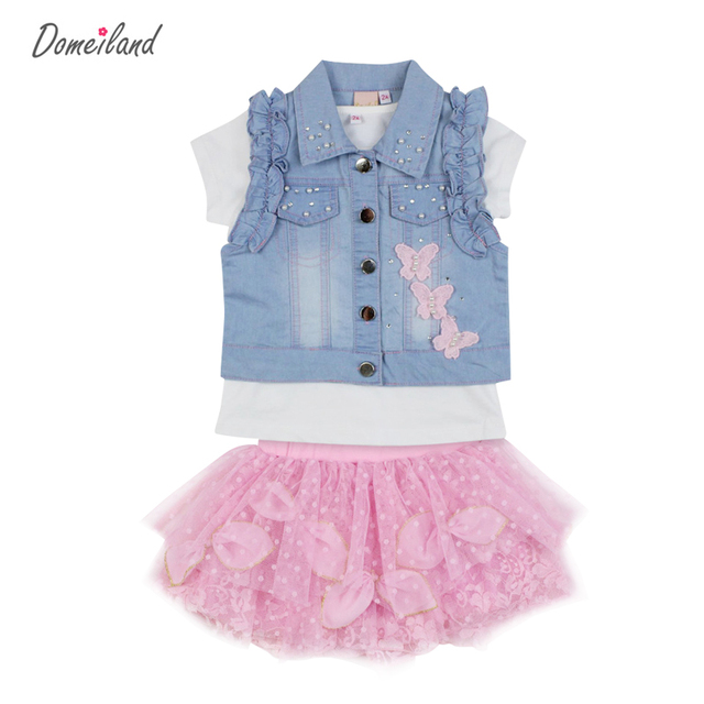 2017 fashion summer children clothing sets 3pcs kids girl boutique outfits sleeveless jackets cotton tops Denim skirt clothes