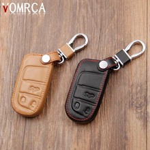 Leather Key Case Cover For Fiat / for Jeep Cherokee Compass Patriot Dodge Journey Chrysler 300C Car Key Chain For Jeep Key Fob