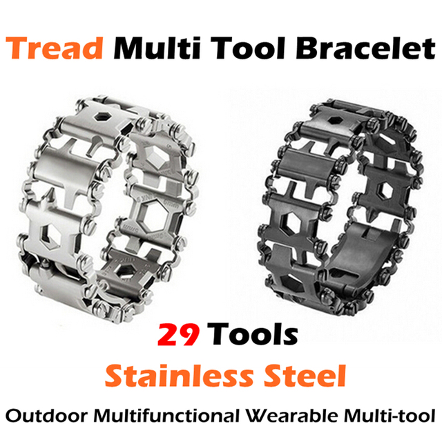 304 Stainless Steel Tread Outdoor Multifunctional Mens Wearable Multi Tool Bracelet Car Repair 29 Tools Kit