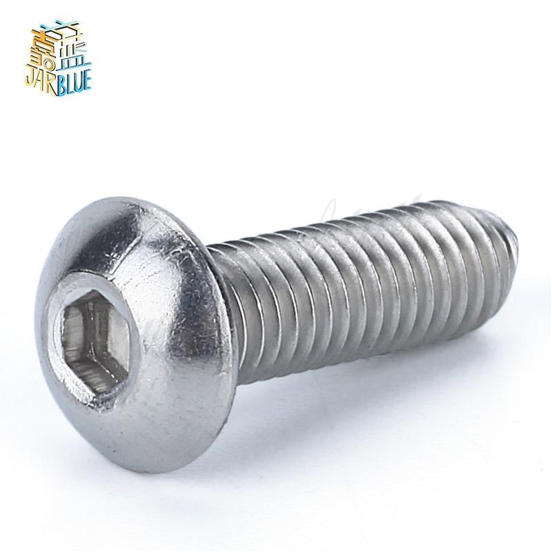 цена на 100pcs or 50pcs ISO7380 M2 M2.5 M3 M4 M5 M6 Bolt A2-70 Button Head Socket Screw Bolt SUS304 Stainless Steel mushroom head screws