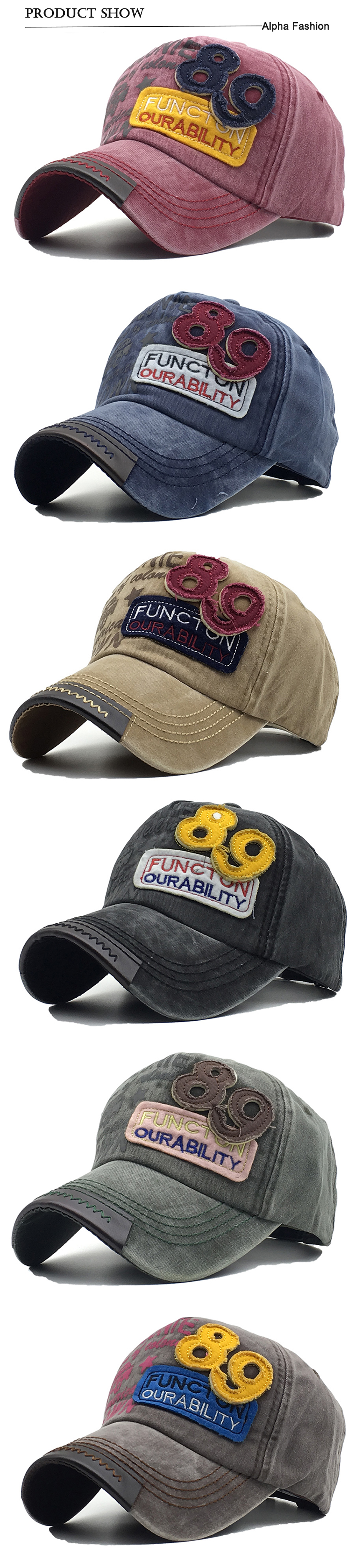 ᐃAlfa moda nuevo estilo 2018 algodón lavado gorra de béisbol ... 98d46d001af