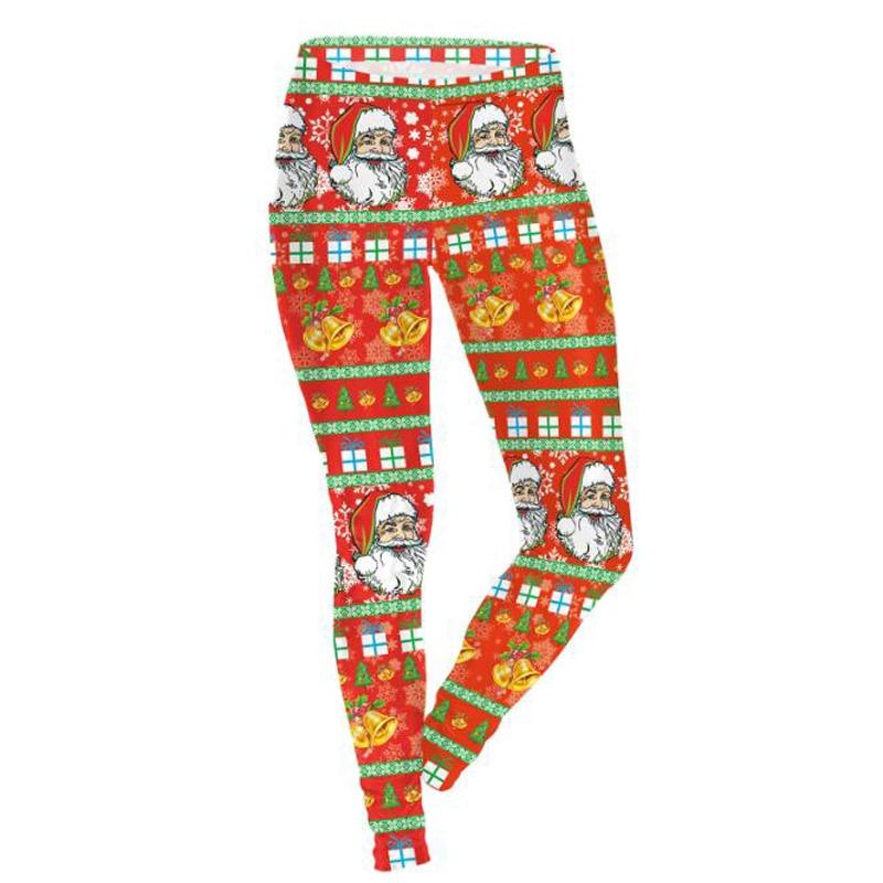 Christmas Leggings For Women Lady Casual Elastic Skinny 3D Digital Print Fitness Pants Trouser Leggins Calzas Mujer Sportlegging