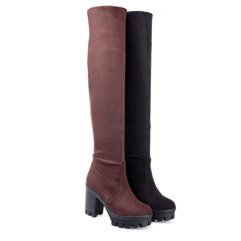 2017 faux suede stretch the knee boots