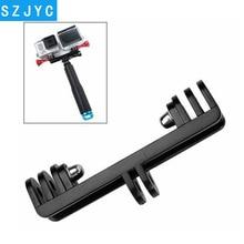 цена на JYC Double Bracket Bridge Connector with Screw For Gopro hero 7 6 5 4 3+ 4s Xiaoyi SJ4000 SJ5000 SJ6000 Selfie Holder Mount