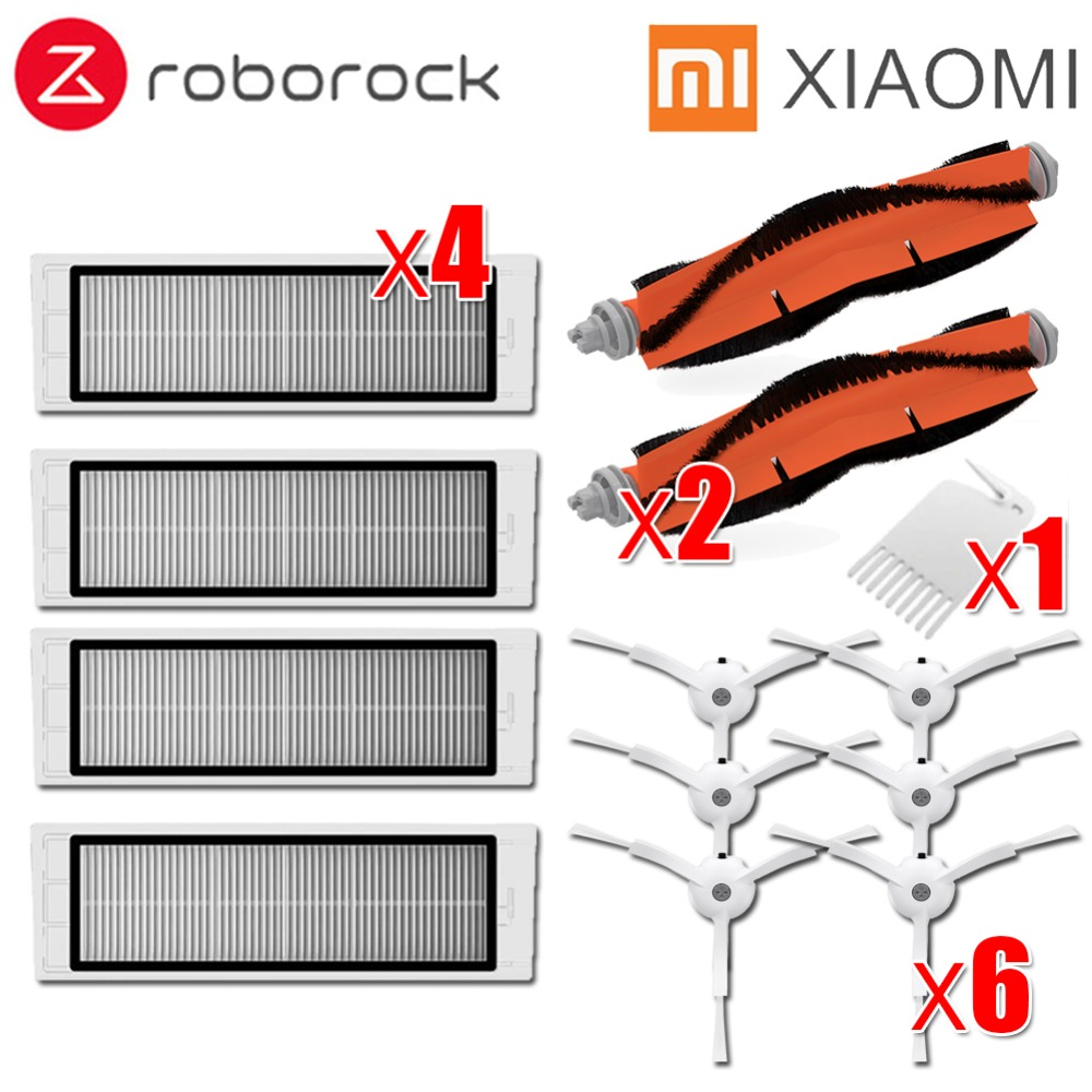 Escova lateral + 4x 6x filtro HEPA + 2x escova principal Adequado para xiaomi vácuo roborock s50 S51 S55 S5 xiaomi xiaomi mi roborock Robô