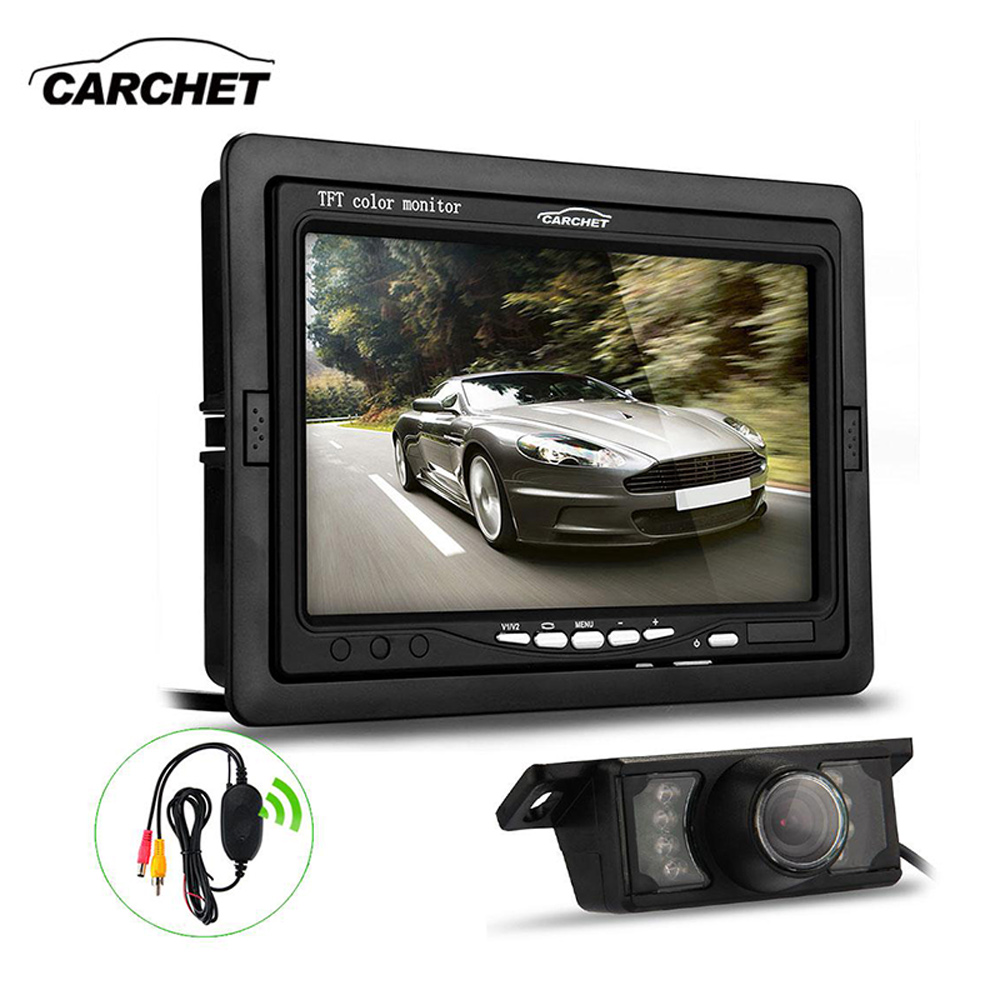 CARCHET Car Rear View Camera 7 TFT LCD Reverse Monitor Wireless Transmitter Night Vision Backup Camera Universal Parking System 7 tft lcd color monitor car rearview camera monitor video reverse camera backup reverse monitor system free shipping