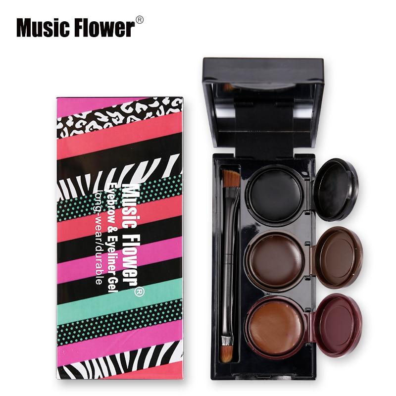 3 em 1 música flor cosméticos Smudgeproof Maquiagem Gel Eyeliner Waterproof & sobrancelha pó duradoura Maquiagem sobrancelha realçadores