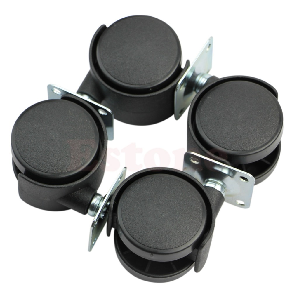 Set of 4 1 Swivel Plate Caster Nylon Wheel Chair Table Replacement Parts New good quality clos 33mm metal mounted plate 38mm plastic dual wheel rotatable caster