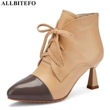 ALLBITEFO di grandi dimensioni: 33 43 del cuoio genuino sexy degli alti talloni del partito delle donne stivali di alta qualità della caviglia stivali per le donne delle ragazze stivali