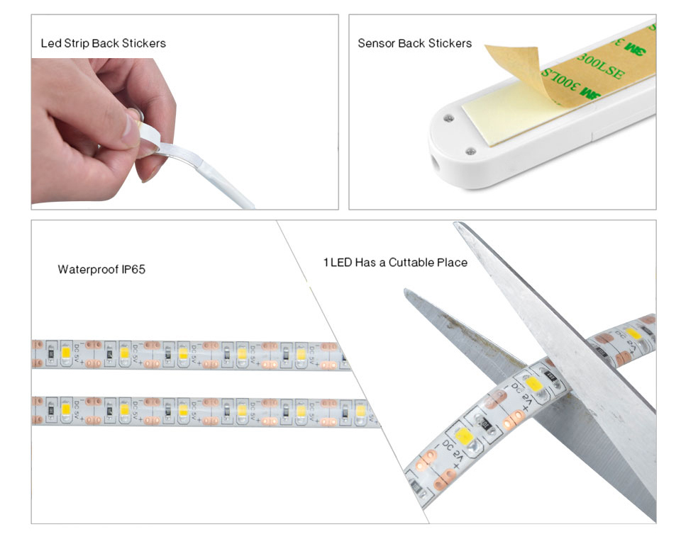 EeeToo PIR Motion Sensor LED Strip Waterproof Battery Powered Auto Onoff 5V 2835 USB Cable LED Tape for Kitchen Cabinet Bedroom (6)