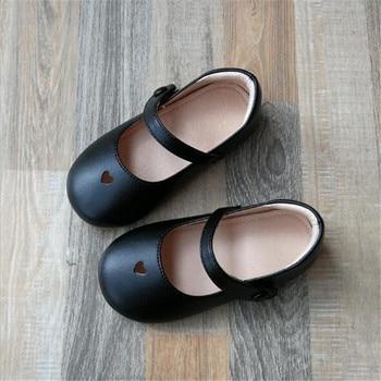 Новинка; детская обувь; сезон весна-осень; Детские тонкие туфли принцессы; детские кожаные туфли с мягкой подошвой; черные туфли на плоской п...