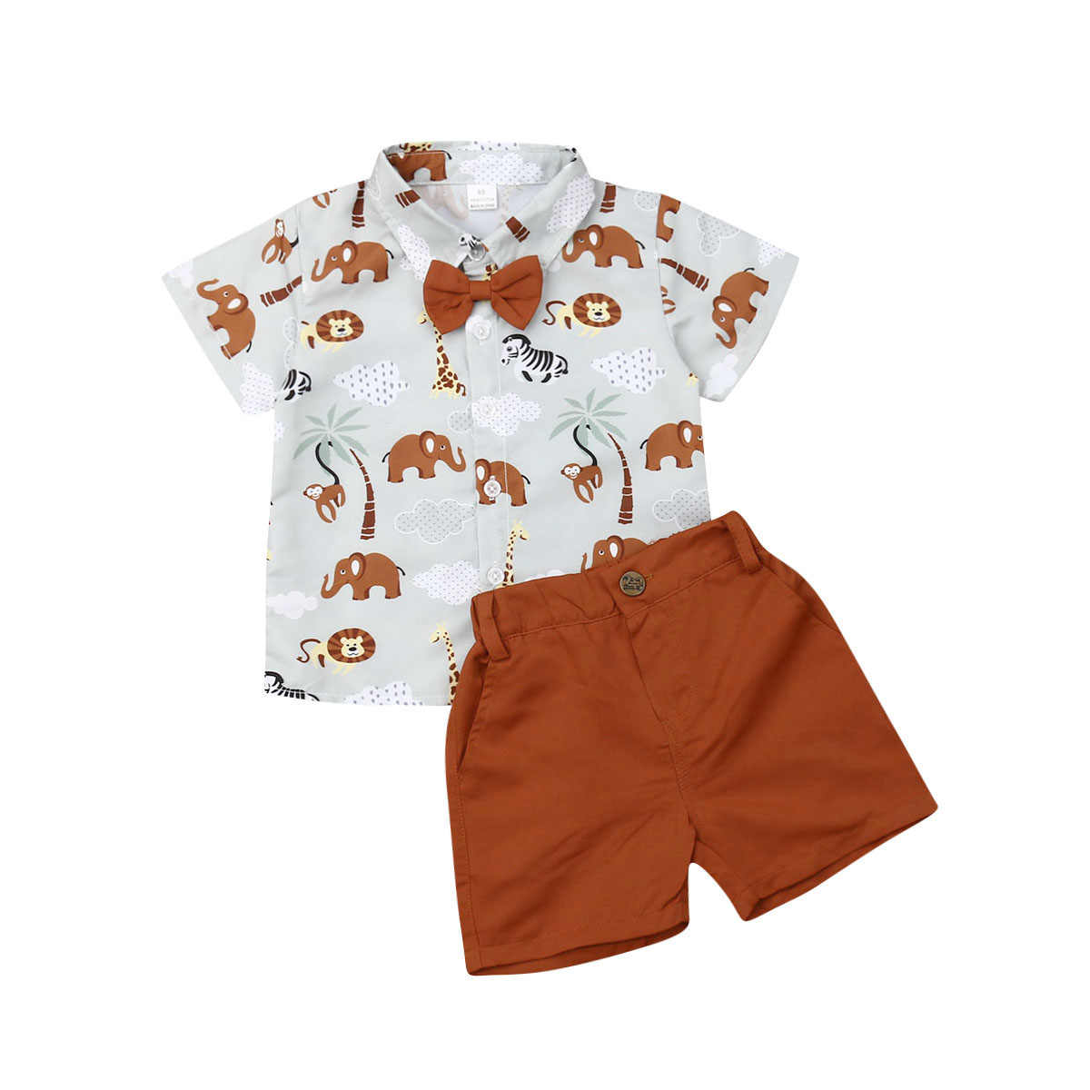 1-6Y Zomer Mode Baby Baby Jongens Kleding Sets Animal Print Shirts Tops + Solid Brown Shorts