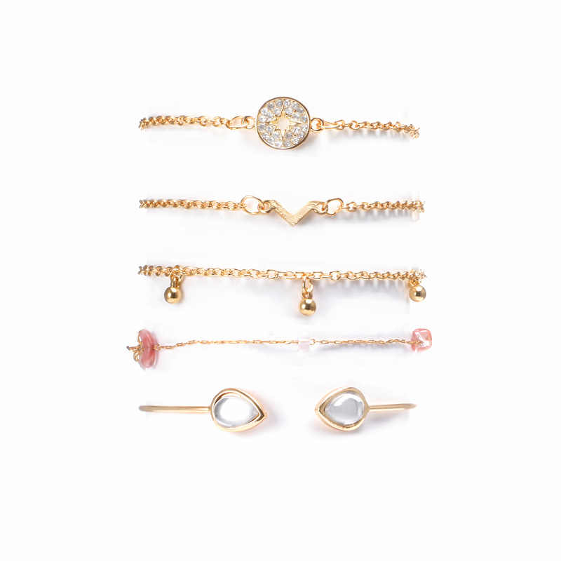 """2019 החדש 4PCs זהב צבע אק""""ג צמידי סט Boho צמידי אגף קסם צמידים לנשים תכשיטי וו קל פשוט צמידים נשיים"""