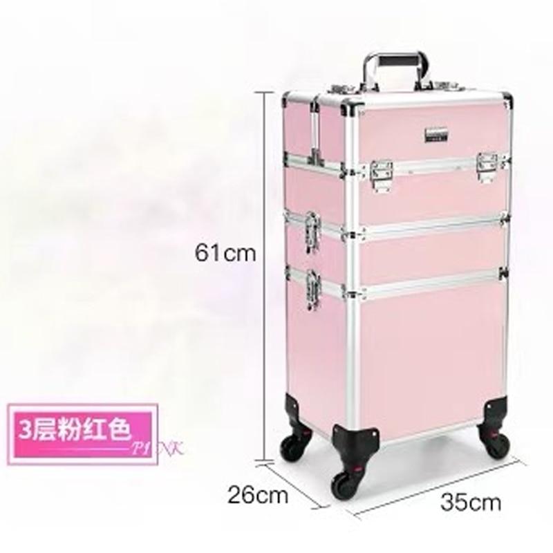 ใหม่ผู้หญิงรถเข็นเครื่องสำอางกระเป๋าล้อเล็บแต่งหน้ากล่องเครื่องมือ, ที่ถอดออกได้พับความงามกล่องกระเป๋าเดินทางกระเป๋าเดินทางกระเป๋าเดินทาง-ใน กระเป๋าเดินทางแบบลาก จาก สัมภาระและกระเป๋า บน   3
