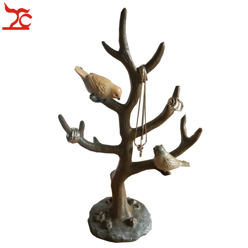 New Pastoral Bird Tree Bangle Storage Shelf Holder Cute Branch Bird Ring Necklace Bracelet Chain Organizer Display Stand bird leaf decorated bracelet