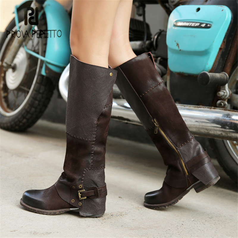 Prova Perfetto Sewing Women Knee High Boots Autumn Winter High Boots Genuine Leather Flat Shoes Woman Platform Botas Mujer prova perfetto 2017 new winter women knee high boots straps riding high boots flat rubber shoes woman platform botas militares